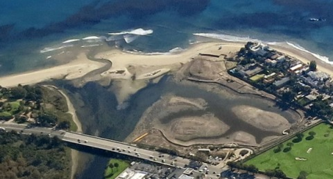 Malibu Lagoon aerial view on 12/19/13 (LightHawk, courtesy of SMBRC)