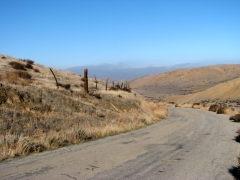 Soda Lake Rd. paved near SW end (L. Johnson 12/8/12)