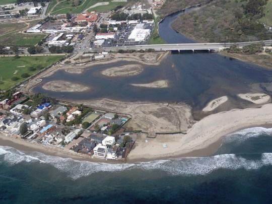 Malibu Lagoon at high tide 1/29/13 (LightHawk courtesy of SMBRC)