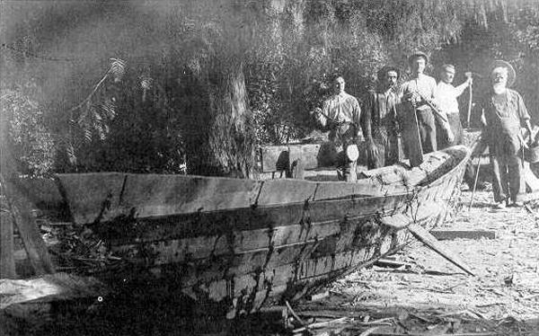 Replica of Tongva sewn-plank canoe, 1912, Bowers Museum.  Source:  tongvapeople.com