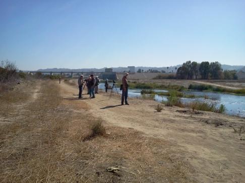 Los Angeles River looking SW towards Sepulveda retention dam (L. Johnson 11/9/13)