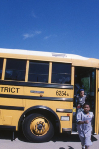 Kids arrive on the bus