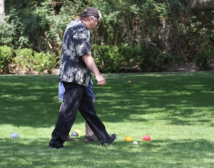 Checking results on the bocce ball green (R. Ehler 6/22/14)
