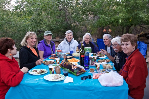 Birders at dinner. At Keith Axelson's ranch )ct.31,2015 Photo Roxane Seidner