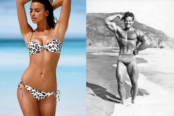 Humans display sexual dimorphism: female left (Beauty Dart Bathing Beauty); male right (a young Steve Reeves before he became Hercules)