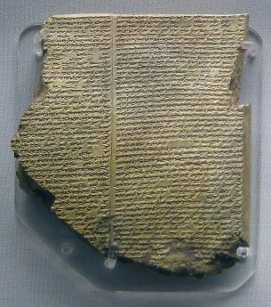 Deluge Tablet of the Gilgamesh Epic in Akkadian script (Wikipedia)