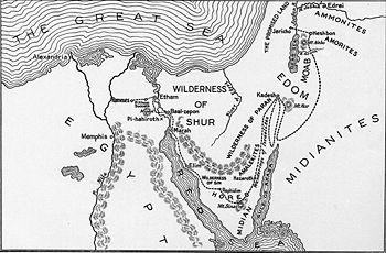 Probable Midian territories during Exodus era (New World Encyclopedia)