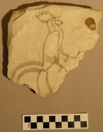 Ostracon of rooster c.1500 BCE, discovered by Howard Carter, 1923 (British Museum)