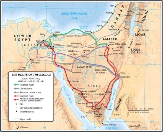 Sinai Exodus routes and mountains (AllFaith.com)