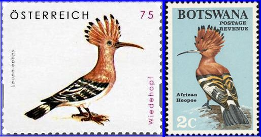 Hoopoe stamps (Austria and Botswana)