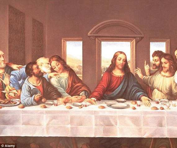 The disciple that Jesus loved best (John or Mary Magdalene?) sits at Jesus' right hand, detail of Da Vinci's Last Supper (Daily Mail)