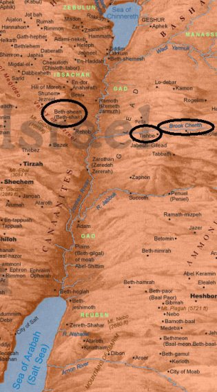 Map of Israel, circled Beth, Tith & Cherith (ss)