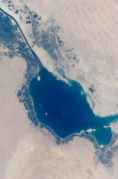 Great Bitter Lake & Suez Canal, Ismalia at north end (Bible Journey)