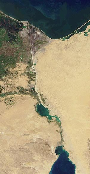 Most of Suez Canal, Great Bitter Lake midway (Bible Journey)